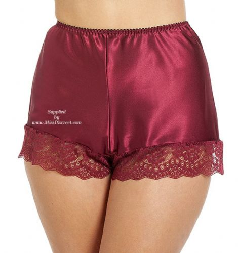 Claret Red Satin French Cami Knickers with Deep Lace Trim - Size UK 10 to UK 28